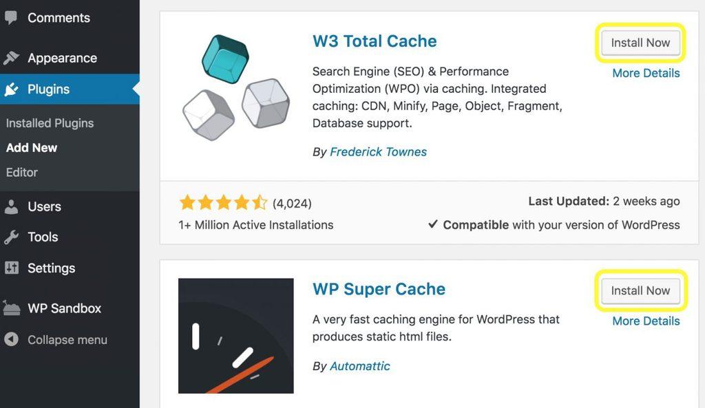 cài đặt plugin wp super cache và w3 total cache