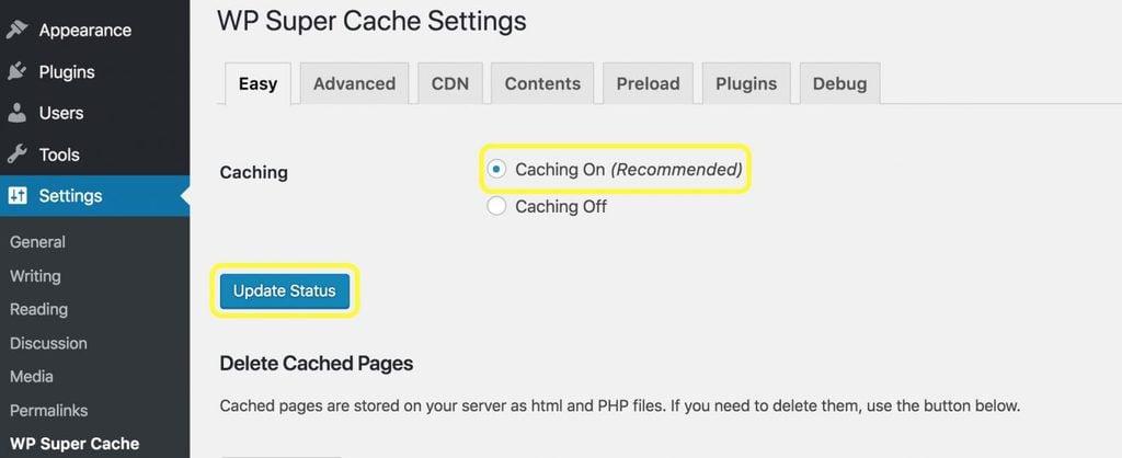 cấu hình wp super cache setting
