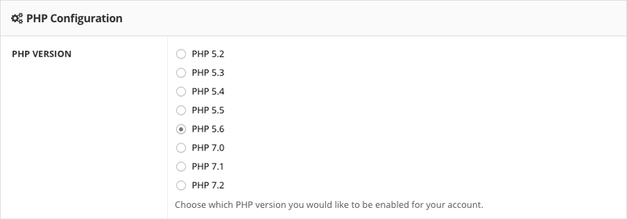 đổi php version