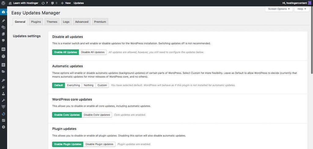 quản lý update wordpress tự động bằng easy update manager