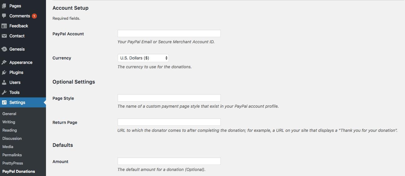 Thiết lập plugin paypal donations