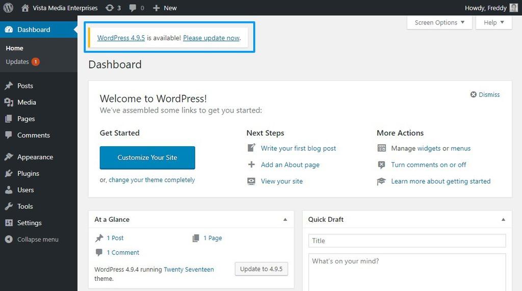 Thông báo update WordPress