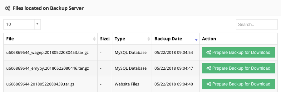 website file and mysql backup in Hostinger