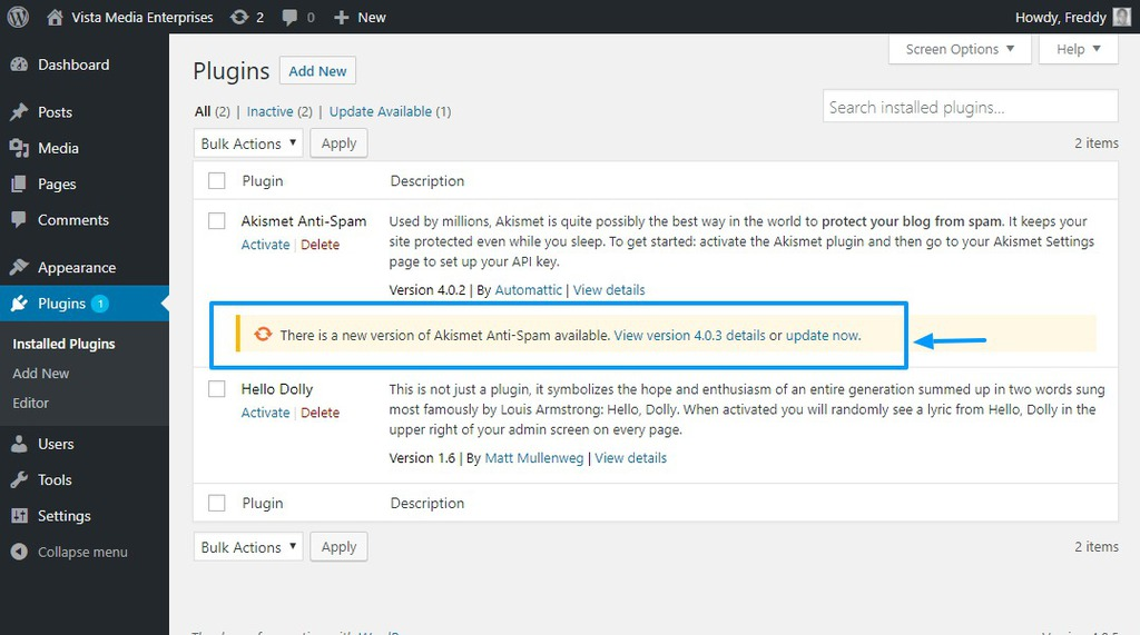WordPress update plugin
