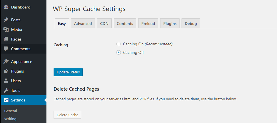 xóa cache plugin Wp super cache
