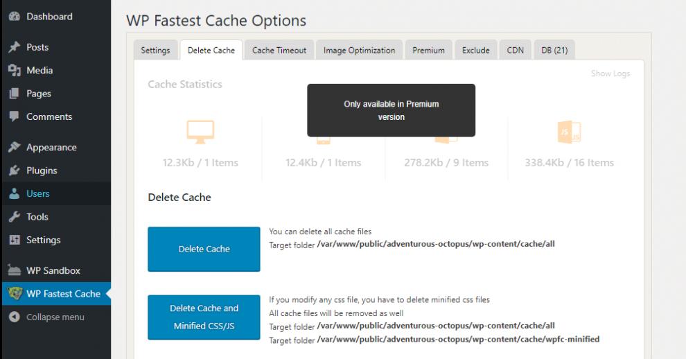 xóa cache wp fastest cache