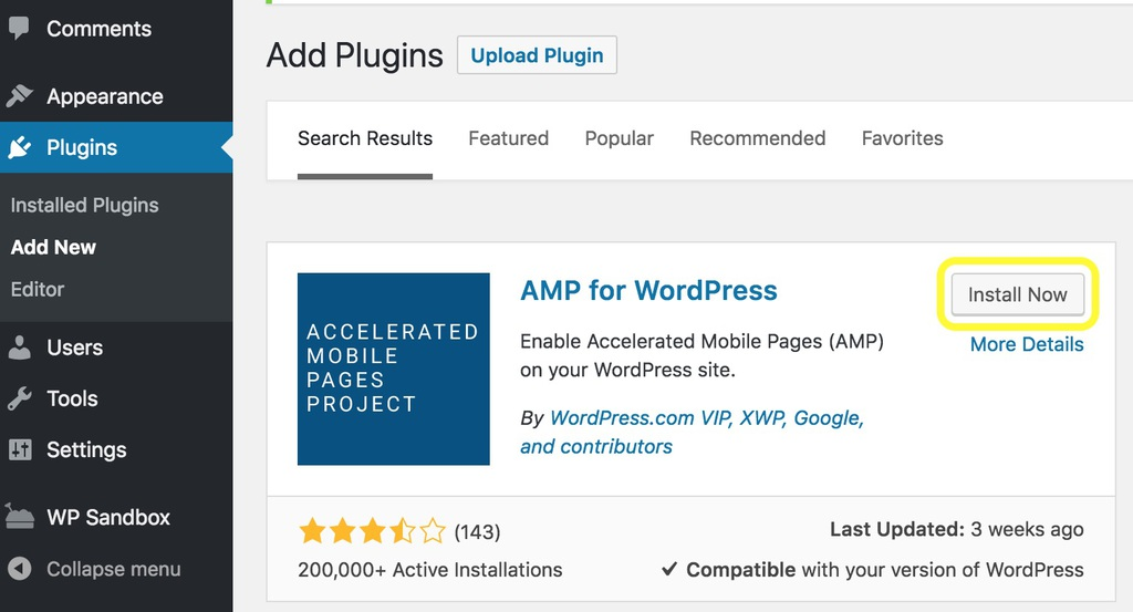 Tìm plugin AMP for WordPress