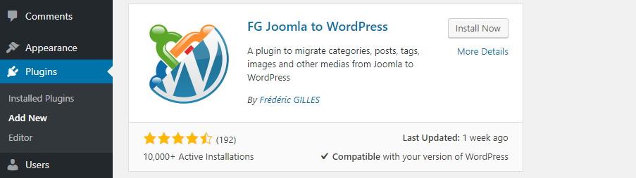 cài đặt plugin chuyển joomla wordpress