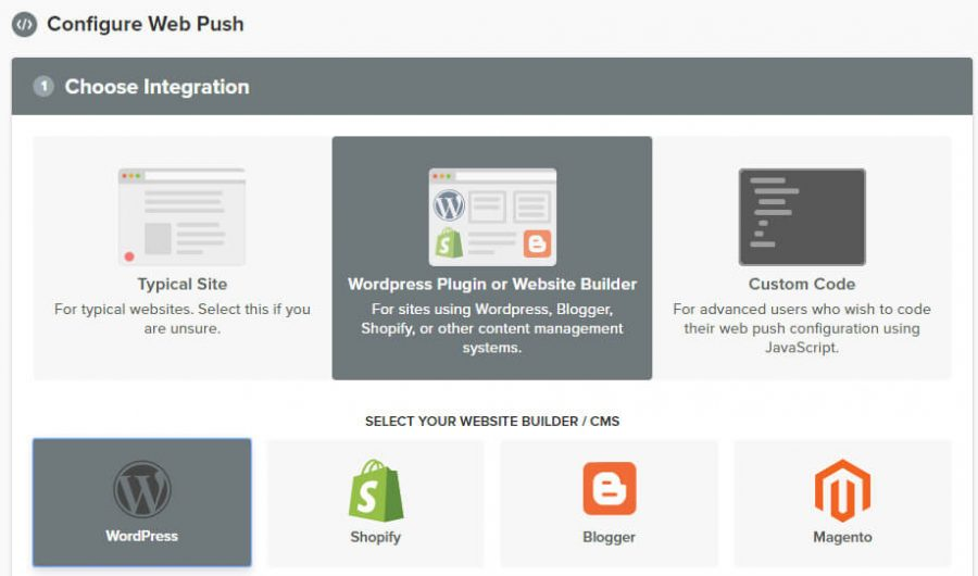 Chọn WordPress push notification