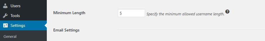 độ dài username