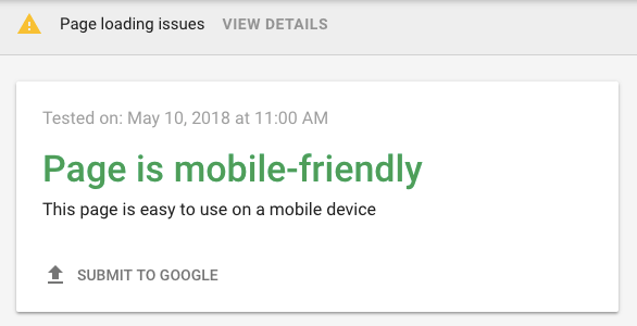 google mobile friendliness test