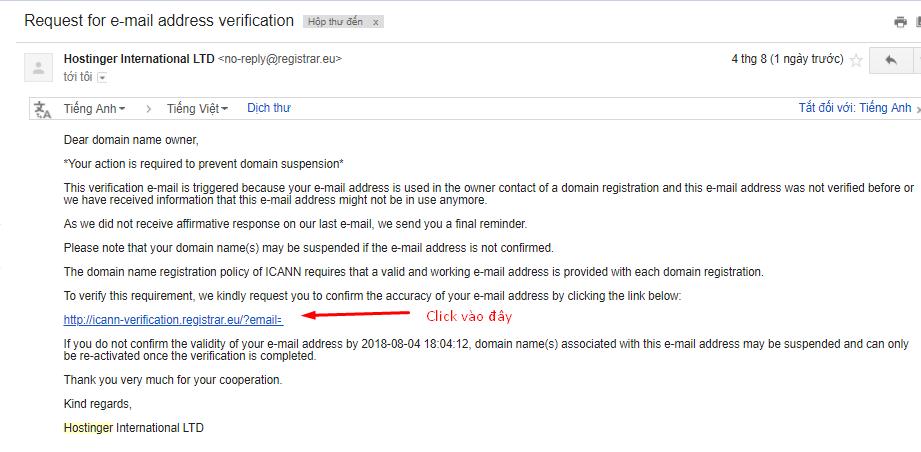 xác nhận đăng ký tên miền