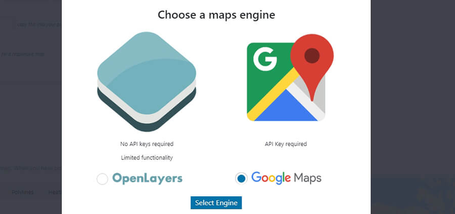 chọn maps engine