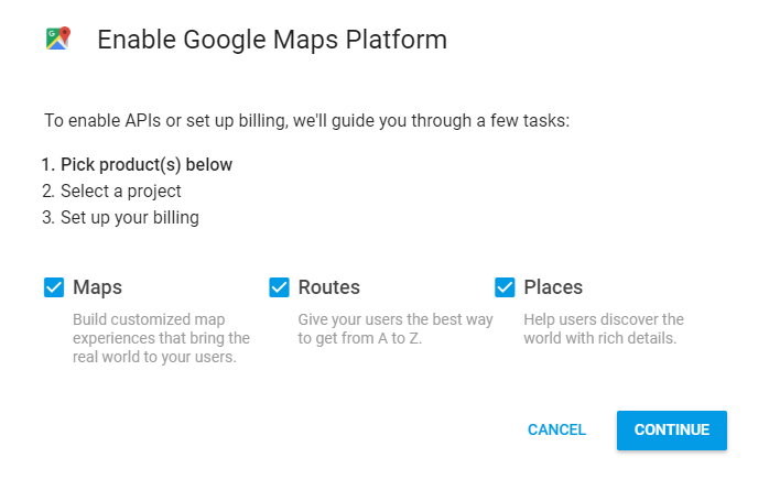 kích hoạt google maps platform