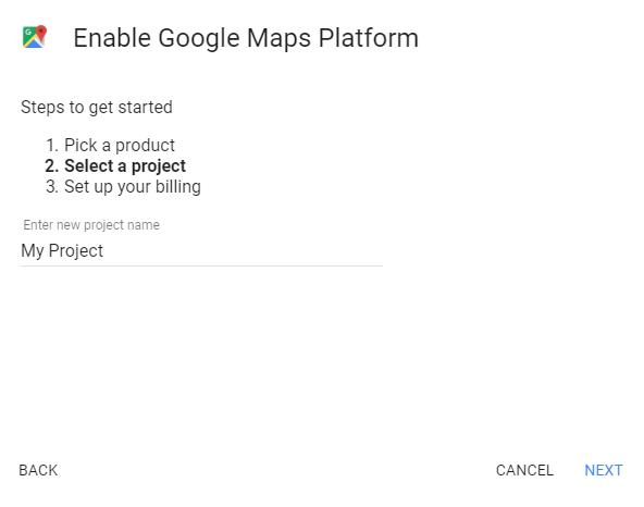 tạo dự án google maps