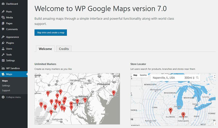 trang giới thiệu plugin bản đồ