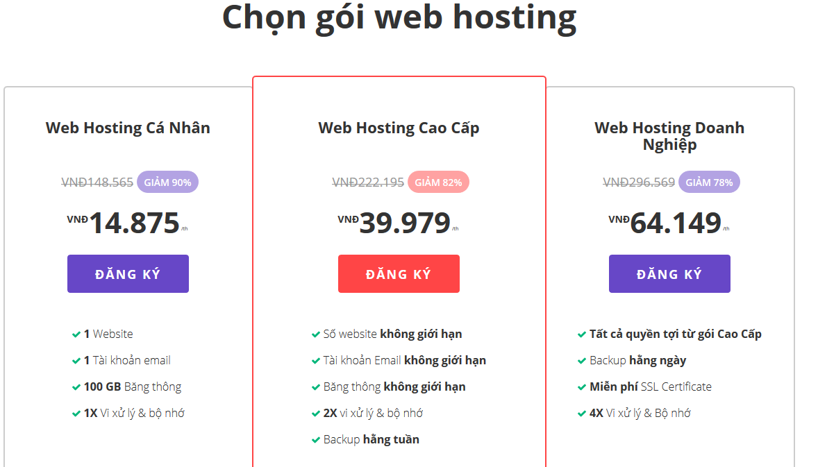 các gói web hosting
