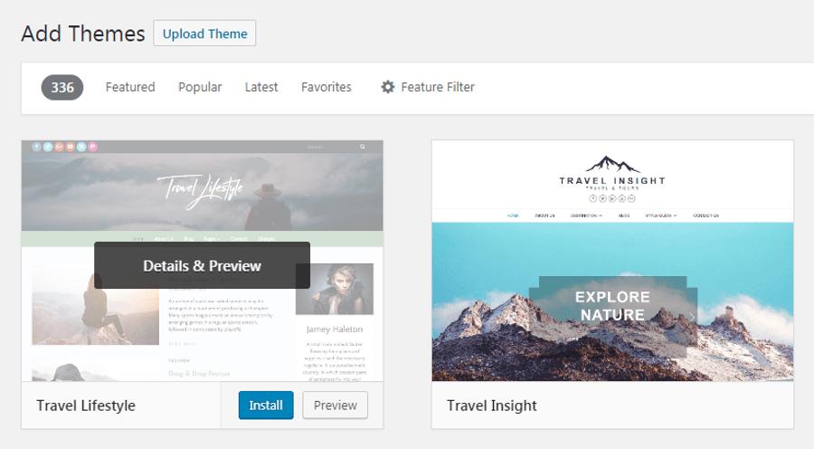 cài đặt theme du lịch