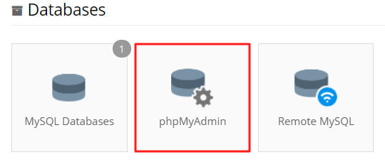 phpmyadmin trong cpanel
