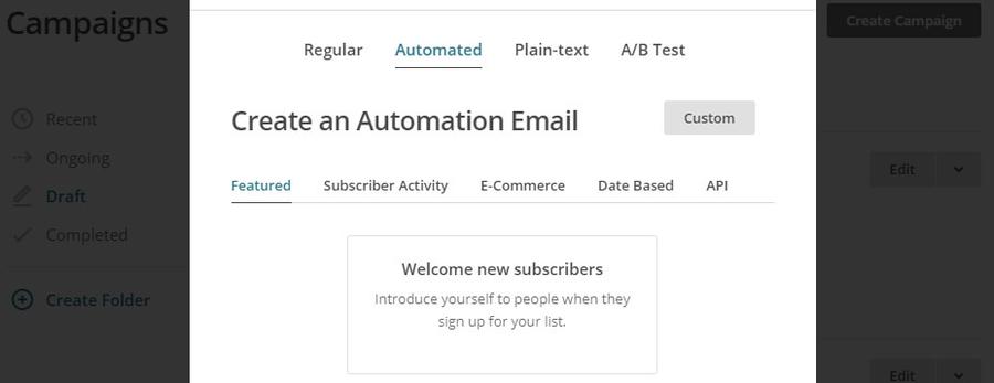 tự động gửi email chào mừng