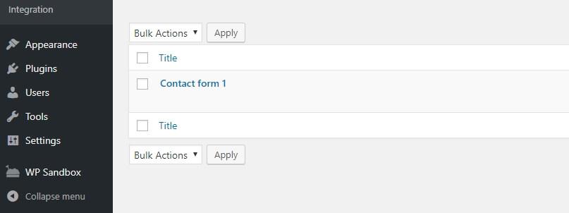 danh sách contact form mẫu
