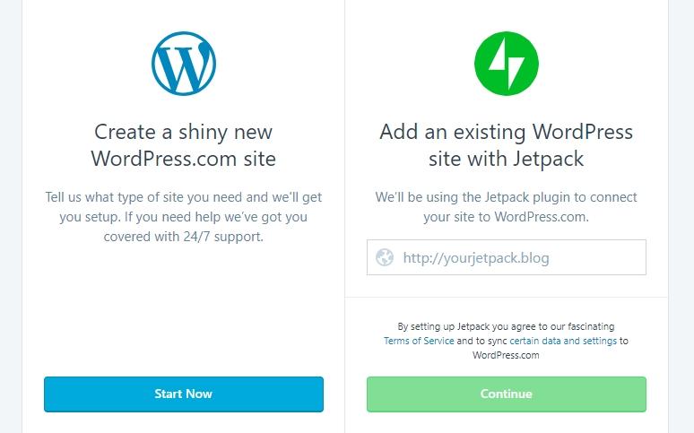Sign up for WordPress.com
