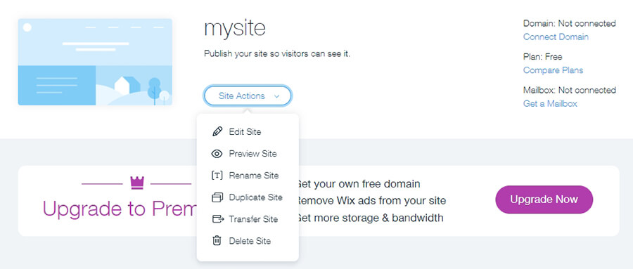 manage wix site