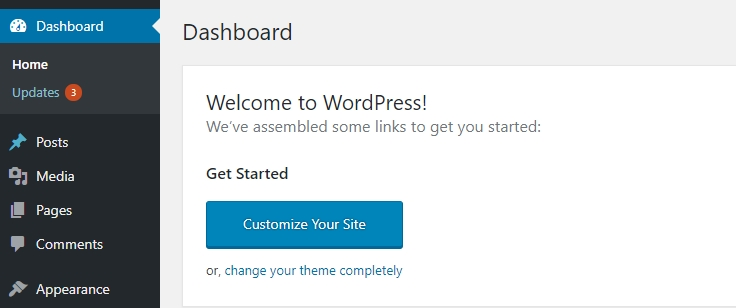 WordPress management page