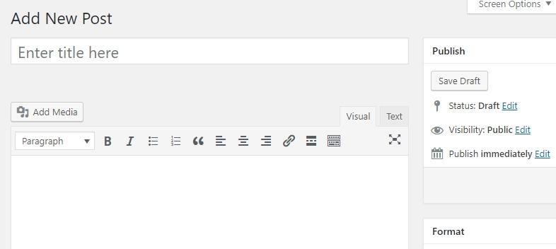 Write a new post using the wordpress editor