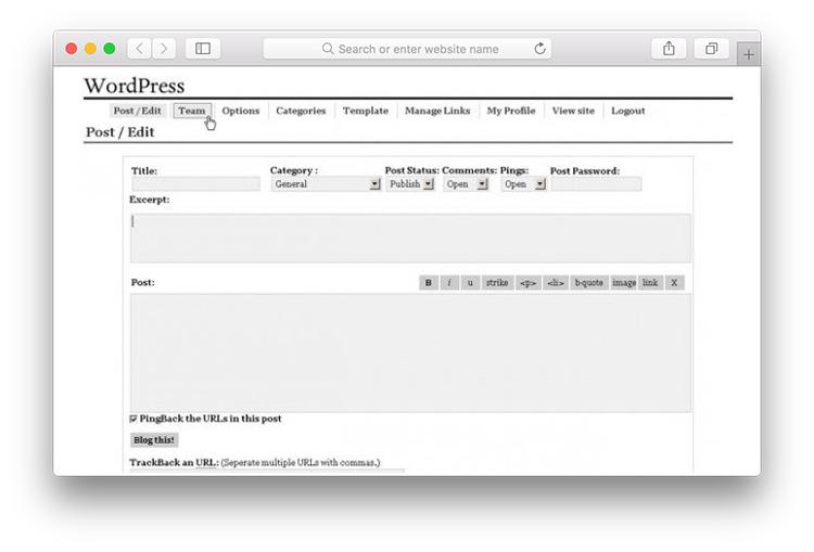 Phiên bản WordPress 0.7