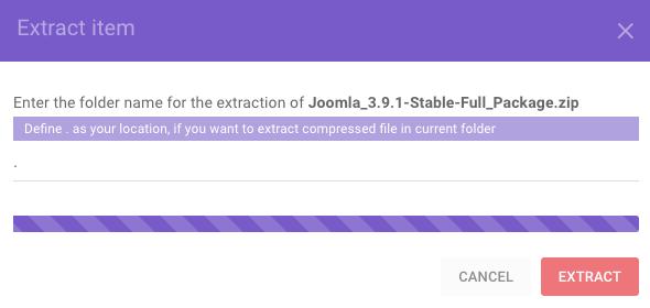 giải nén joomla vào thư mục public_html