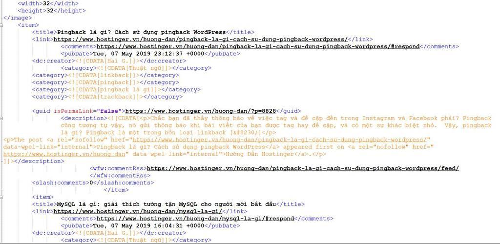 rss feed của Hostinger ví dụ
