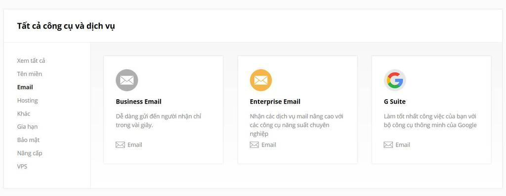 các loại email theo tên miền riêng