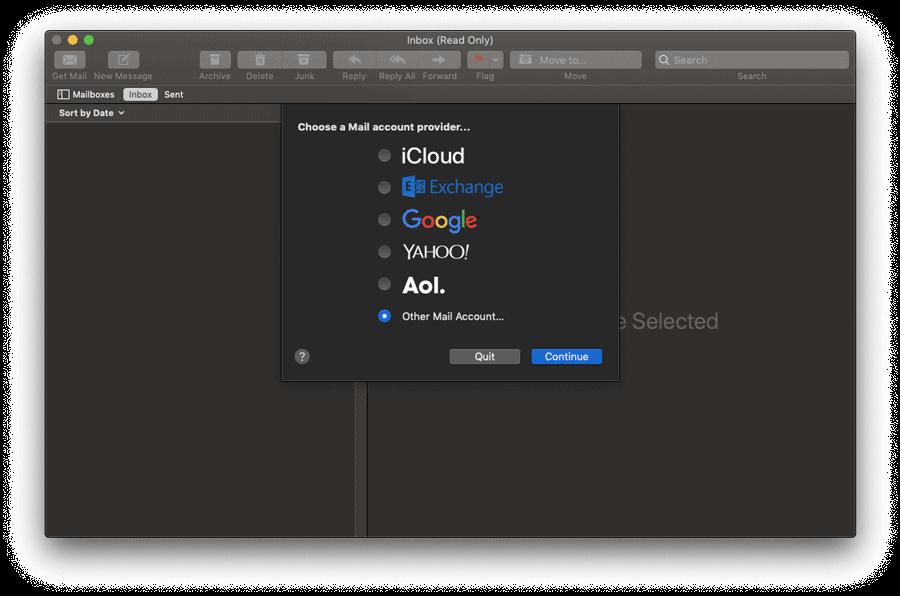cài mac mail client bước 1
