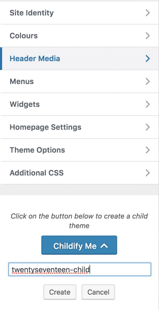 childify theme từ parent theme