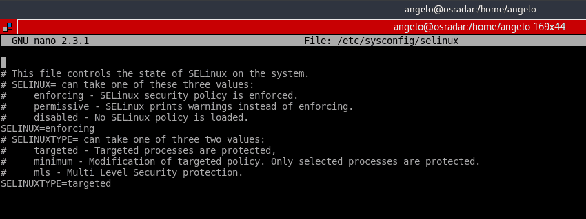 Edit the selinux configuration file