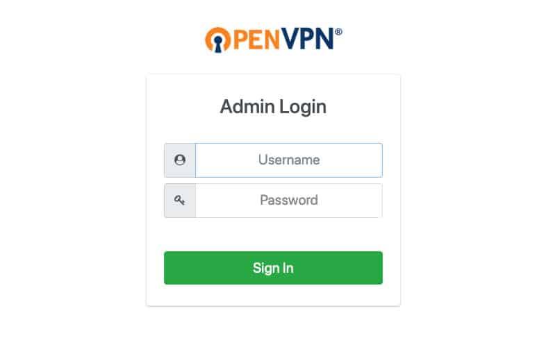 màn hình đăng nhập openvpn