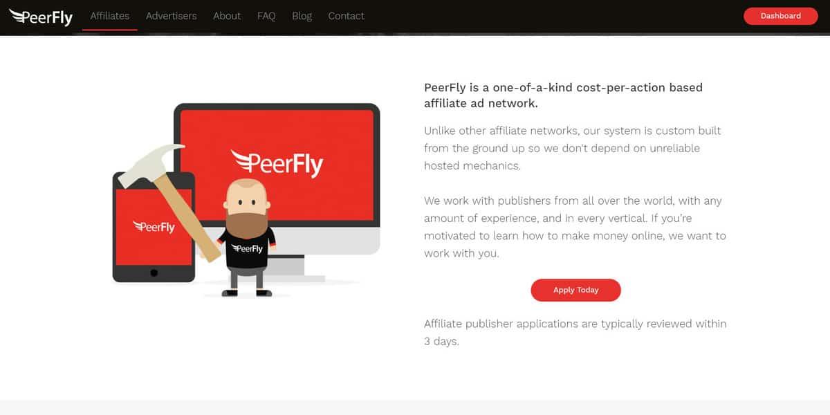 chương trình affiliate peerfly