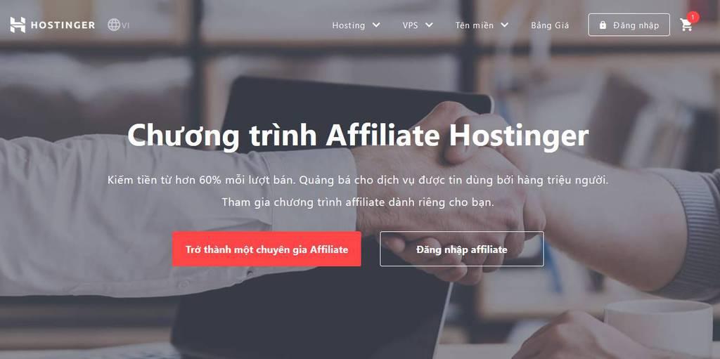 chương trình affiliate hostinger