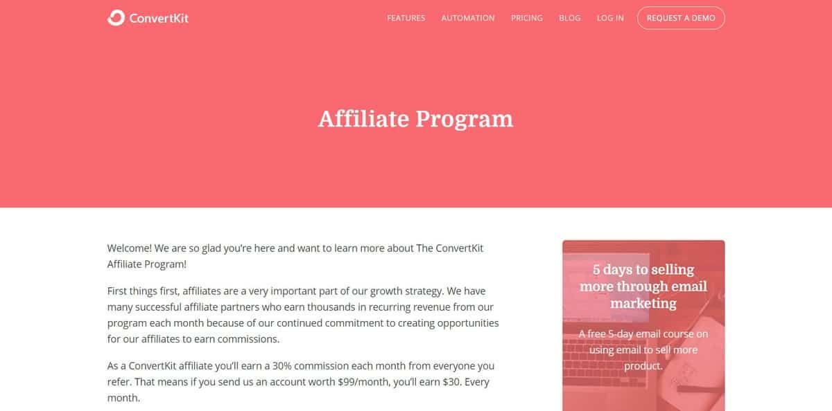chương trình tiếp thị liên kết convertkit affiliate