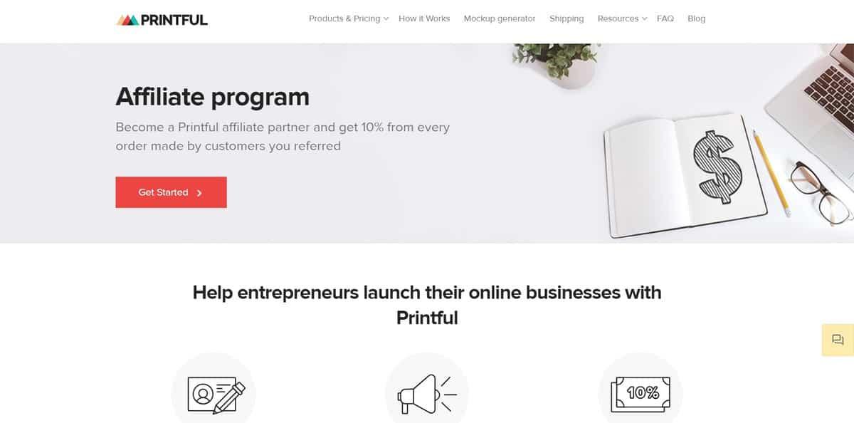 chương trình tiếp thị liên kết printful