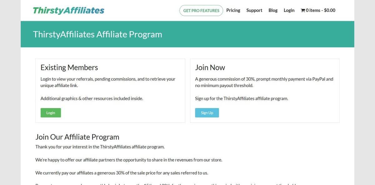 tiếp thị liên kết thristy affiliate