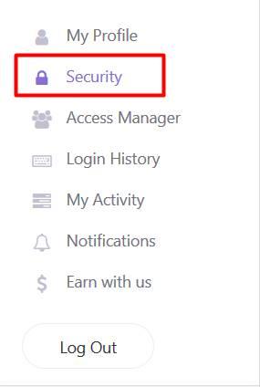 chọn security - bảo mật tài khoản