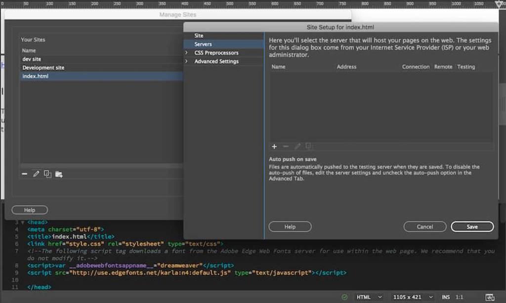 kết nối dreamweaver tới tài khoản ftp hosting