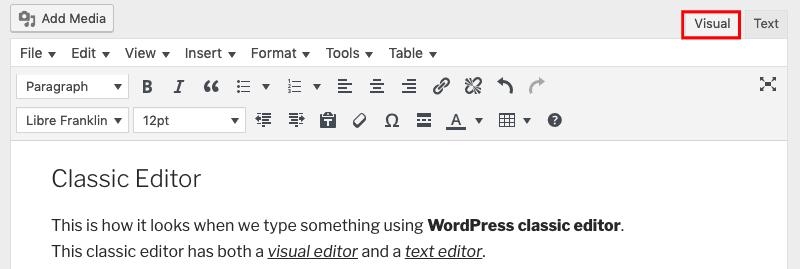 visual editor của WordPress