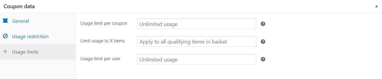 coupon data usage limit box
