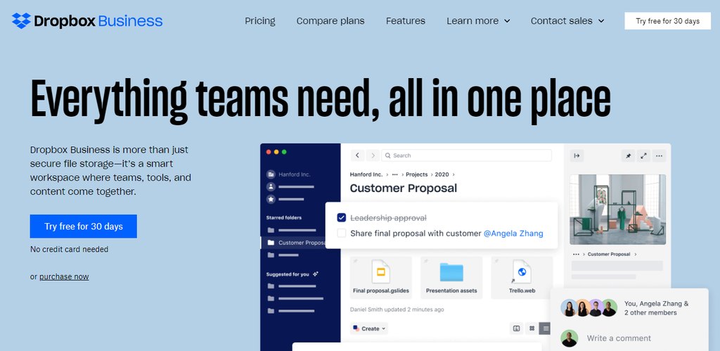 dropbox business - teamwork application