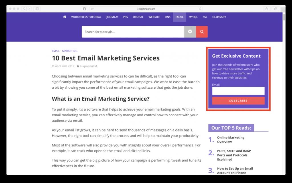 form đăng ký nhận email marketing của Hostinger