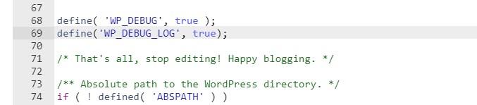Activate wp_debug log