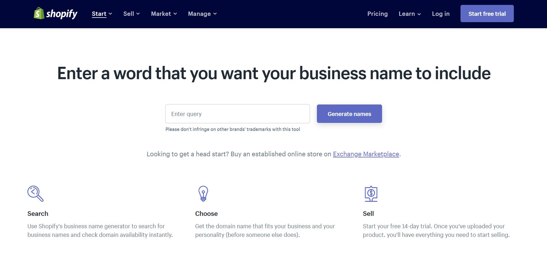 shopify đặt tên thương hiệu 10 Website hỗ trợ đặt tên thương hiệu hay nhất